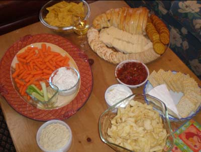 Veggies and chips and dips and cheese